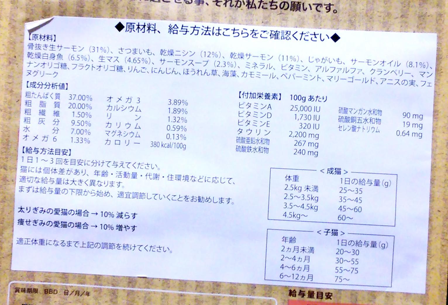 原材料の表示一覧を確認
