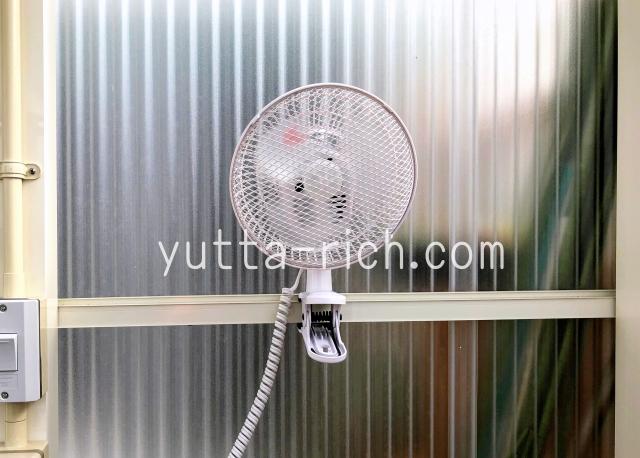 多肉小屋の扇風機