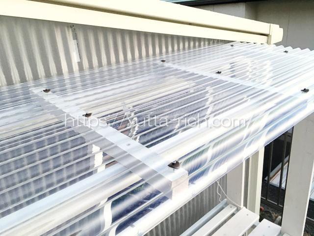 棚の屋根 透明波板の取り付け方